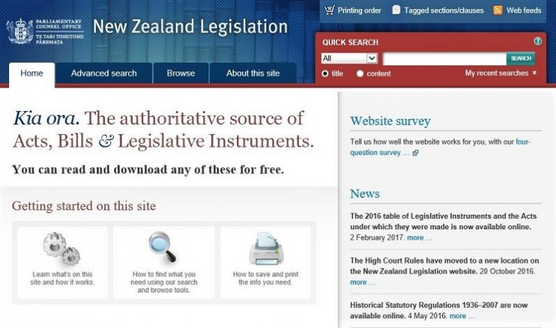 Screenshot: home page of New Zealand Legislation website.